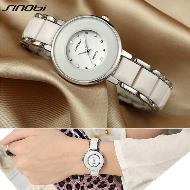 SINOBI Brand Women's Watch Dress Imitated Ceramic Ladies Luxury Fashion Metal Bracelet Watches with Fine Steel Strap