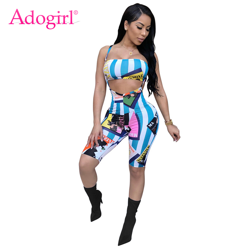 Adogirl Fashion Cartoon Stripe Print Women Tracksuits Sexy Strapless Crop Top Knee Length Suspender Trousers Club Two Piece Set
