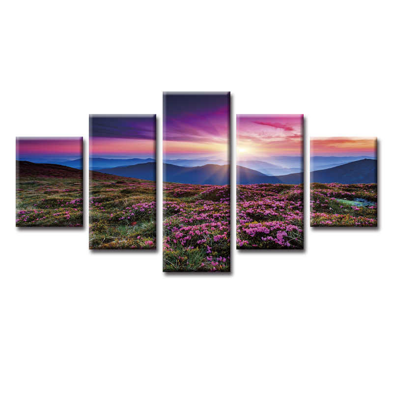 5 Panels Beautiful scenery series Painting Custom Canvas Print Printing Wall Pictures Home Decoration