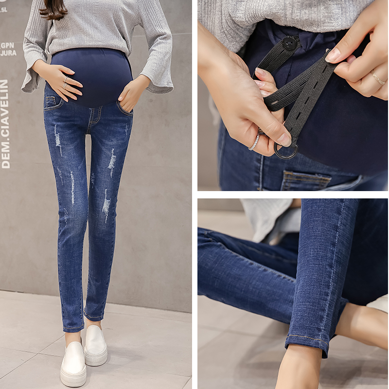 Autumn Maternity Clothes Loose Jeans Pants Pregnancy Clothing For Pregnant Women 2018 Pregnancy Belly Trousers 8526 9 10 length autumn fashion maternity jeans rolled up skinny pants clothes for pregnant women pregnancy pencil trousers