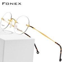 015eb1e80a Gafas de titanio puro montura de gafas ópticas sin montura para hombre 2018  nuevas gafas de prescripción redonda Vintage para mu.