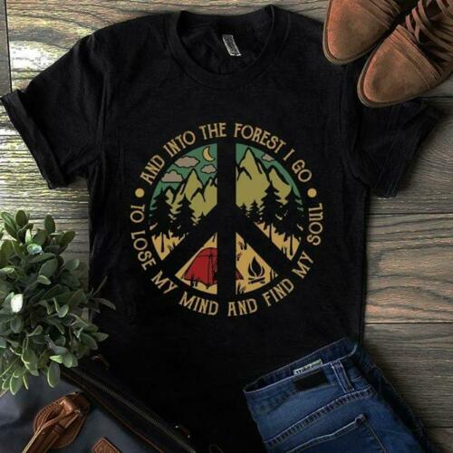 Camping Into The Forest I Go To Lose My Mind Vintage T-Shirt Black Cool Casual Pride T Shirt Men Unisex Fashion Tshirt