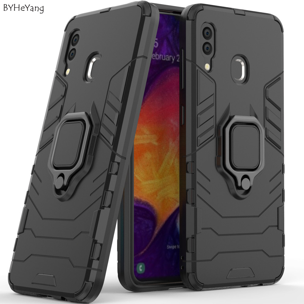 SFor Samsung A20 2019 Case Metal Ring Car Stand Silicone Case For Samsung Galaxy A20 Phone Back Cover On For Galaxy A 20 Holder