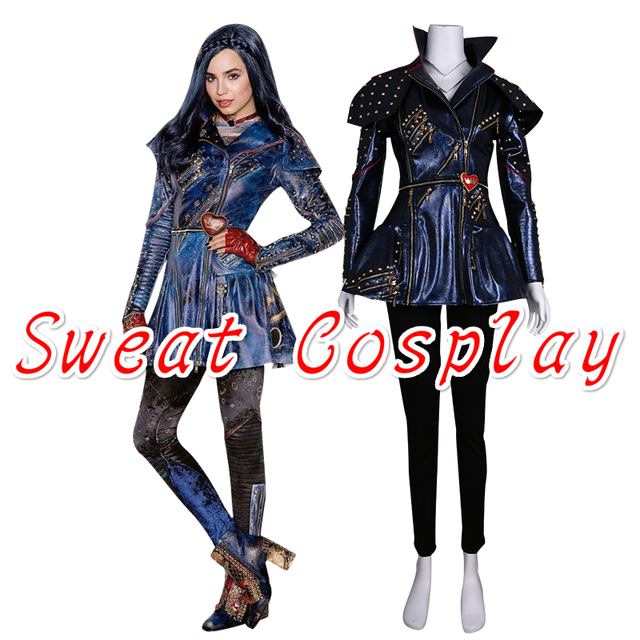 halloween source high quality descendants maleficent evil queen blue jacket evie