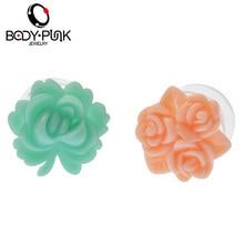 BODY PUNK Ear Expanders Fashion Ear Studs 1Pair Arcylic Flare Plugs Flesh Tunnel Ear Plugs Body Piercing Jewelry 3-16mm PLG 084