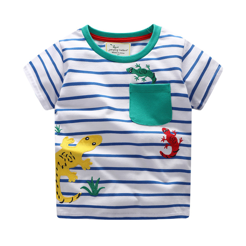 Jumping meters Boys T shirts cotton summer children clothing applique animals hot selling kids tees tops knitted t shirt boy contrast lace applique t shirt
