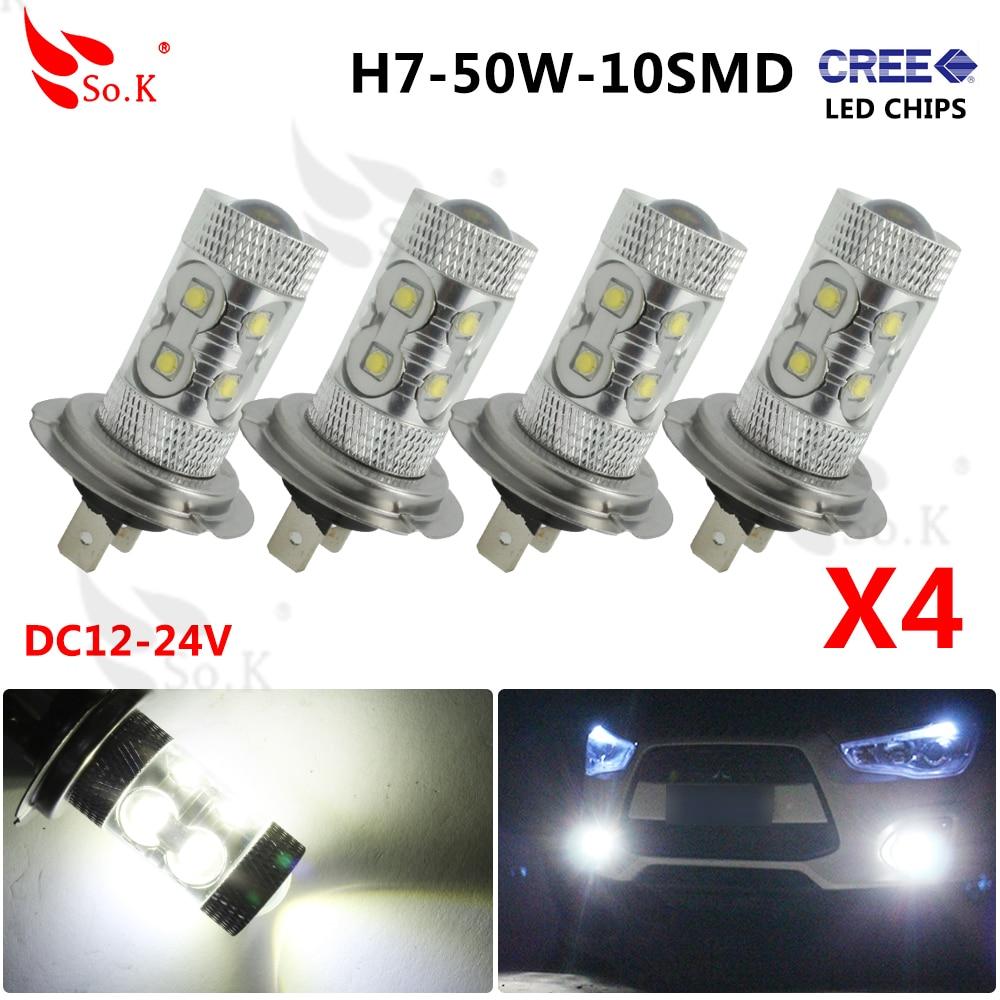 H7 50w Led H7 Socket 12V 50W 10 LEDs 6000k White Light LED Car Fog Lamp / Driving / Parking / Turn / Signal  / Tail Light