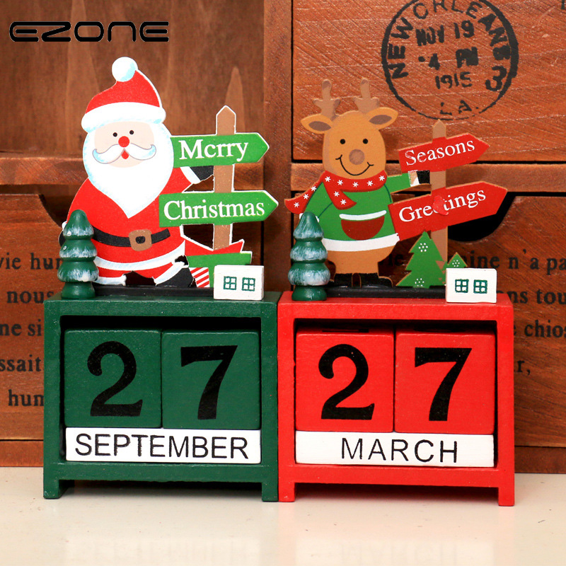 EZONE Christmas Wooden Table Desk Calendar Design Of Santa Claus/Snowman/Elk Wood Block Planner Permanent Desktop Office Supply kicute european perpetual wooden calendar desktop block wood calendar diy yearly planner pen holder desk office stationery