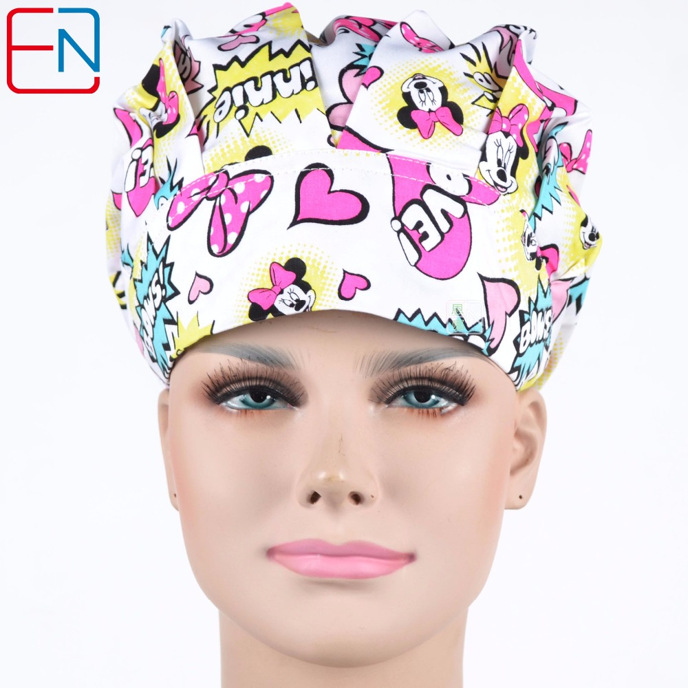 Hennar Medical Bouffant Hats Masks For Women White Cartoon Print Cotton Surgical Caps Hospital Clinic Medical Puff Caps