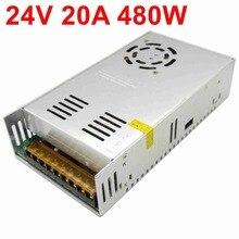 24V 20A 500W импульсный источник питания встроенный вентилятор охлаждения AC 110/220 V к DC 24V DC трансформатор для светодиодных лент светильник