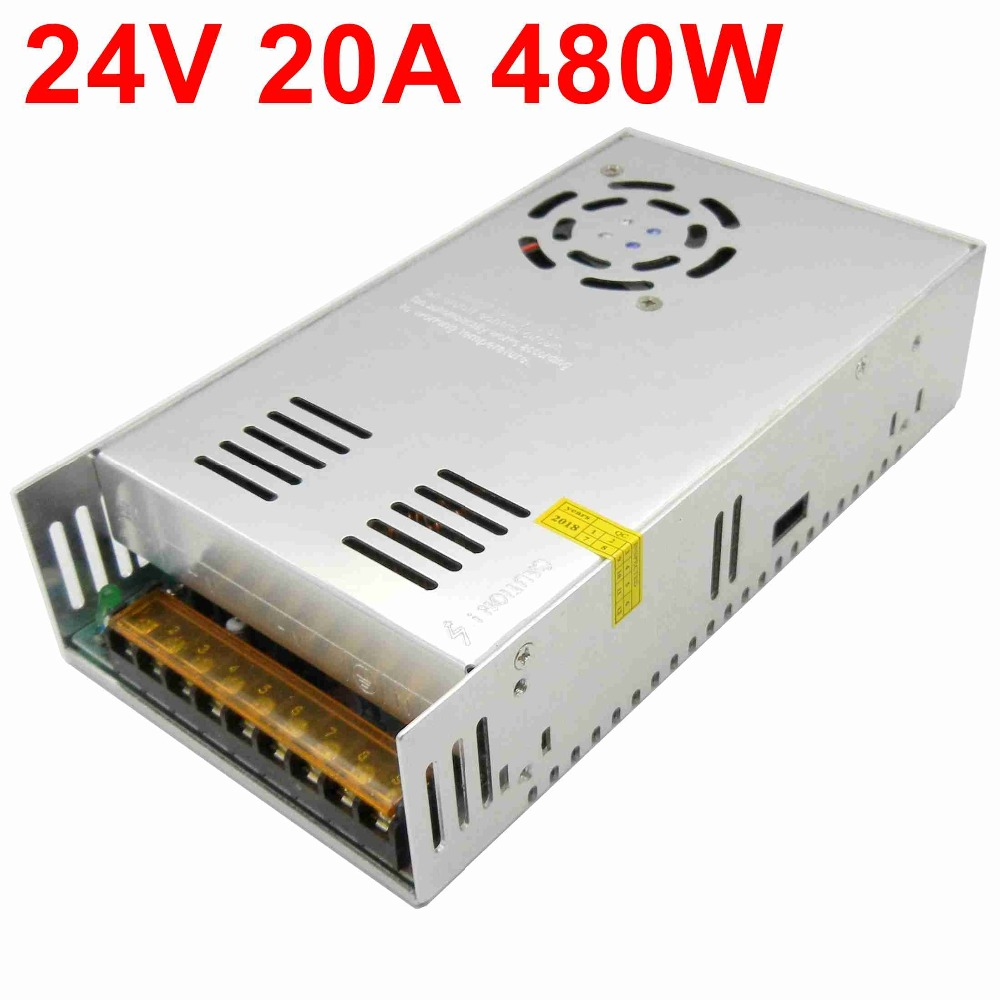 24V 20A 480W switching power supply built-in cooling fan AC 110 / 220V to DC 24V DC transformer for led strip light display24V 20A 480W switching power supply built-in cooling fan AC 110 / 220V to DC 24V DC transformer for led strip light display
