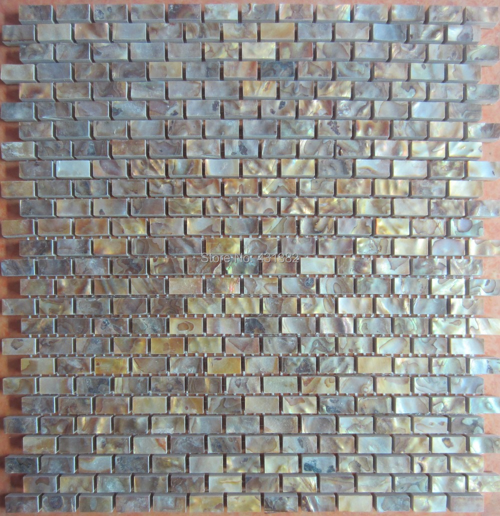 Us 249 9 11pcs Gold Color Tiles Natural Mop Shell Wall Mosaic Brick Tile For Interior Decoration Free Shipping In Wallpapers From Home