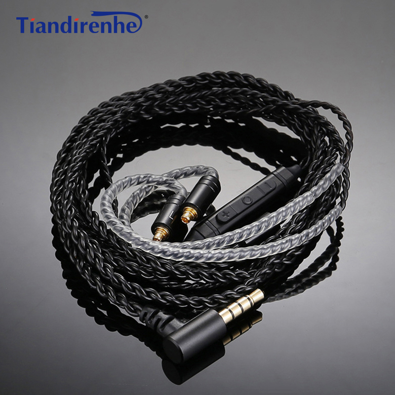 Earphone <font><b>Cable</b></font> MMCX for Shure SE215 SE535 for Sennheiser IE80 IE8 IE8I W4r TF10 A2DC IM50 Cks1100is Single Crystal Copper <font><b>Cable</b></font> image