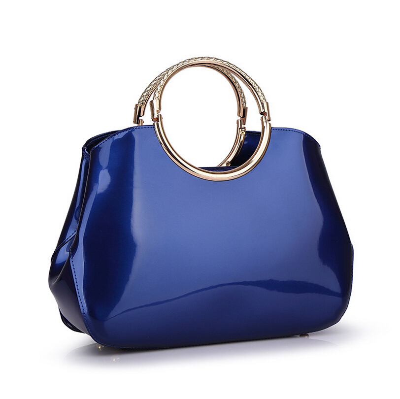 bb2a6310046 US $53.96 |Vintage round bag womens trendy bags red blue patent leather  handbags ladies handbag clutch women large tote bag bolsas de marca-in ...