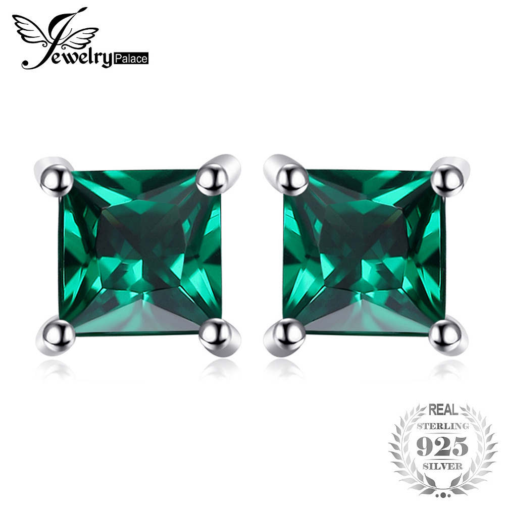 015f5cec86c0 JewelryPalace 0.6ct verde Nano ruso Esmeralda pendientes de las mujeres  clásico corte cuadrado de Plata de Ley 925 joyería de plata regalo en Stud  ...