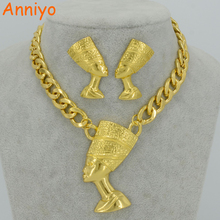 Anniyo Two Gold Color Egyptian Queen Nefertiti Pendant Thick Chain Earrings Sets Jewelry Africa Egypt #050406