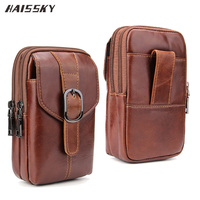 HAISSKY Luxury Genuine Case Leather Waist Wallet Bag For IPhone 7 Plus Samsung S8 Plus Huawei