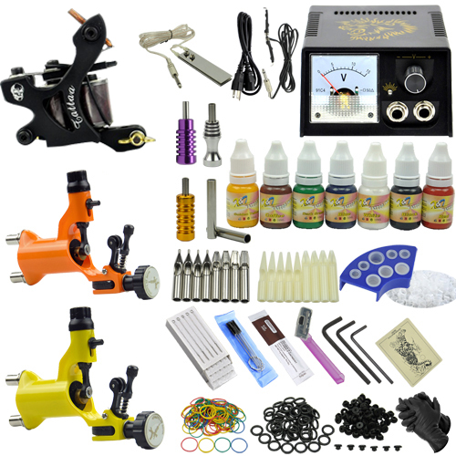 Professional Tatoo motor dragonfly tattoo guns kit with power supply needles set ink aluminum grips Anti-scar cream MC-KIT-A3001Professional Tatoo motor dragonfly tattoo guns kit with power supply needles set ink aluminum grips Anti-scar cream MC-KIT-A3001