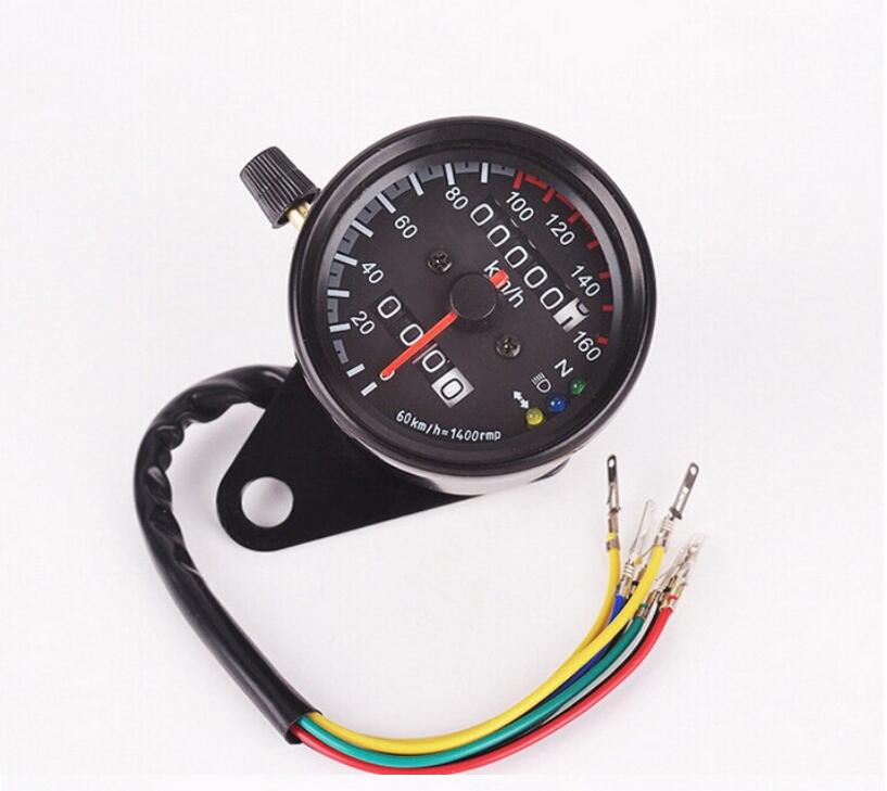 Motorcycle Speedometer Odometer Gauge ATV Bike Scooter Backlit Dual Speed Meter with LED Indicator DC 12V 0~160kmh