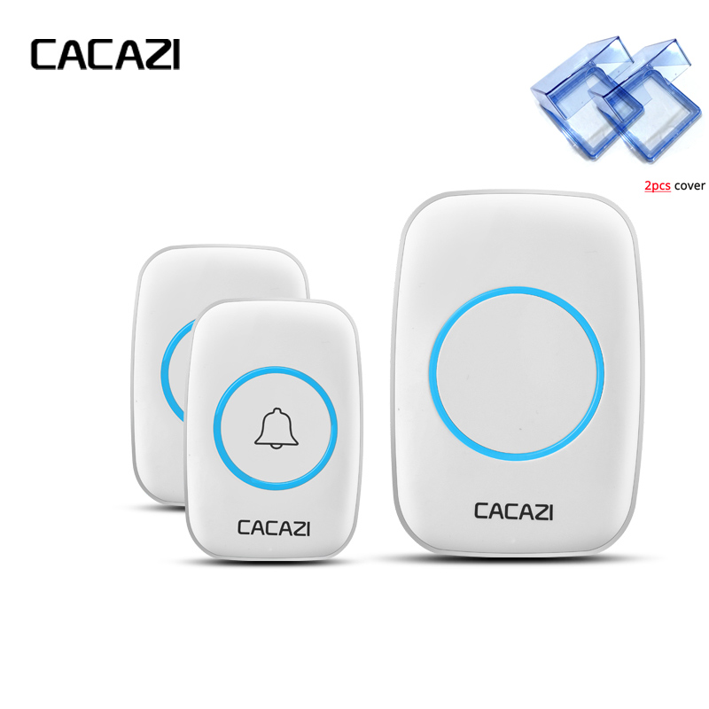 CACAZI New Wireless Doorbell With 2pcs Waterproof Cover 300M Remote EU AU UK US Plug smart Door Bell Chime 2Outdoor Transmitters wireless cordless digital doorbell remote door bell chime waterproof eu us uk au plug 110 220v