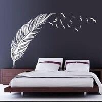 Cập nhật Lông Flying Birds Tường Giấy Đen Trắng PVC Removable DIY Tường Bức Tranh Tường cho Trang Trí Phòng Vinyl Art tường decals Y-