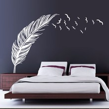 Updated Feather Flying Birds Wall Paper Black White PVC Removable DIY Wall Mural for Room Decoration Vinyl Art wall decals Y-220