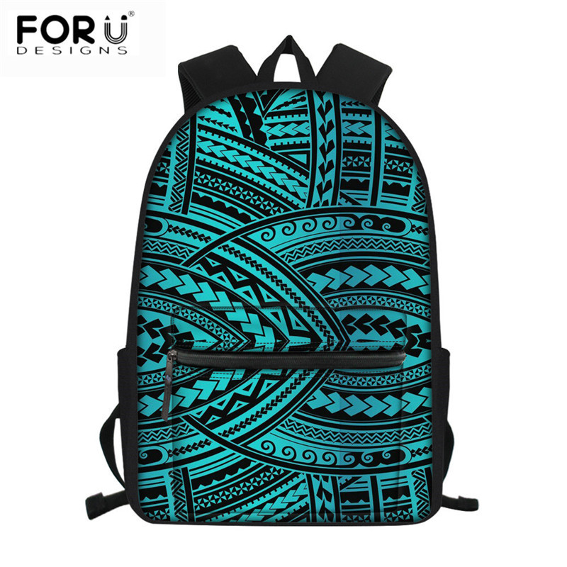 FORUDESIGNS Canvas School Bags Fashion Polynesian Traditional Tribal Pattern Waterproof Schoolbag Bookbag Students Large Satchel