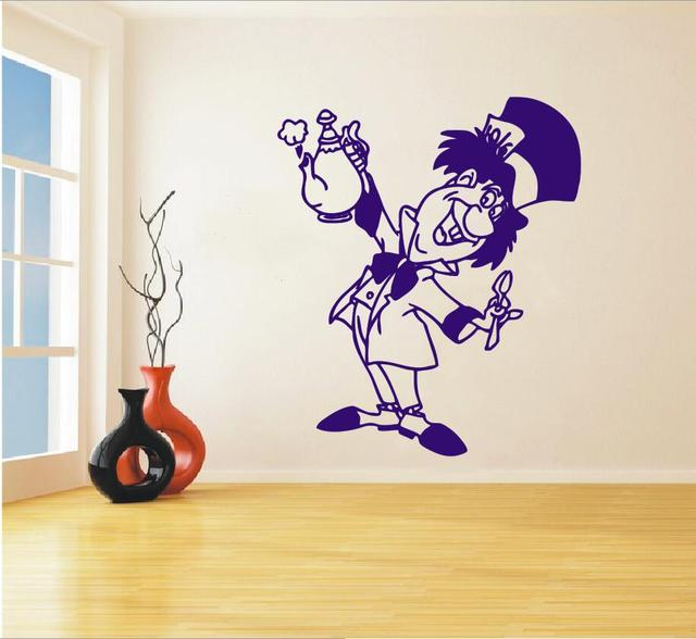 Mad Hatter Wall Decal Alice In Wonderland Decals Vinyl Stickers Tea Party Decor Dining Room Kitchen
