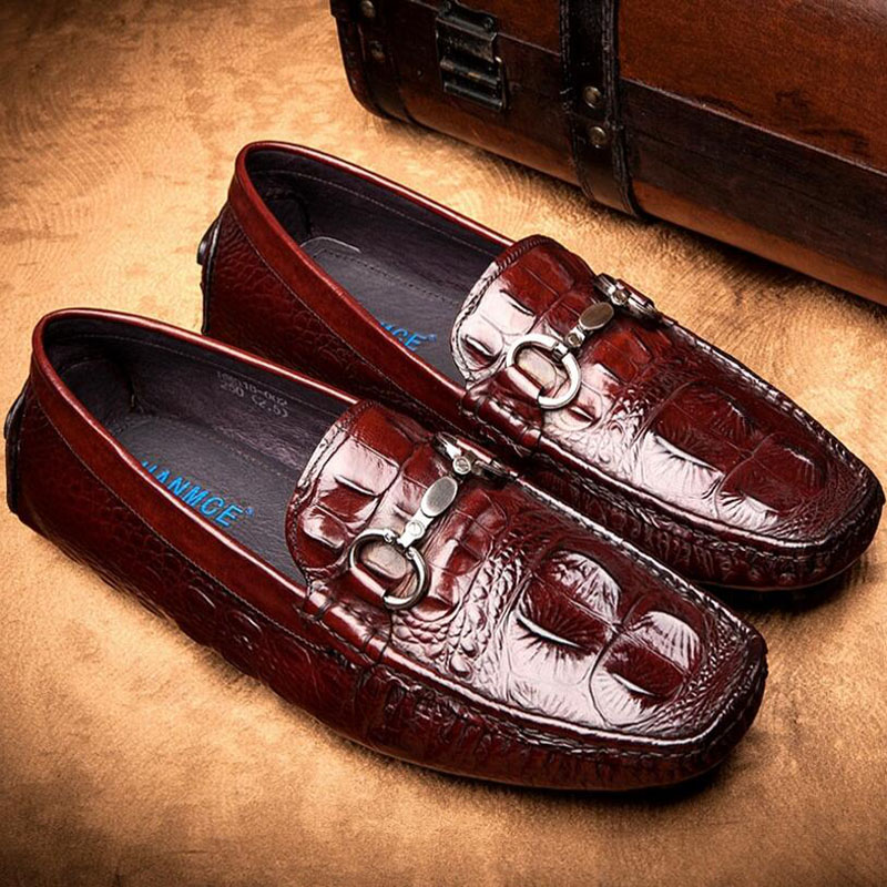 Hot Sale Men's Shoes Genuine Leather Crocodile Flat Shoes Mens Loafers Brand Leather Casual Footwear Oxford Shoes Zapatos Hombre high quality men shoes crocodile genuine leather flat shoes business luxury wedding mens leather loafers oxford zapatos hombr