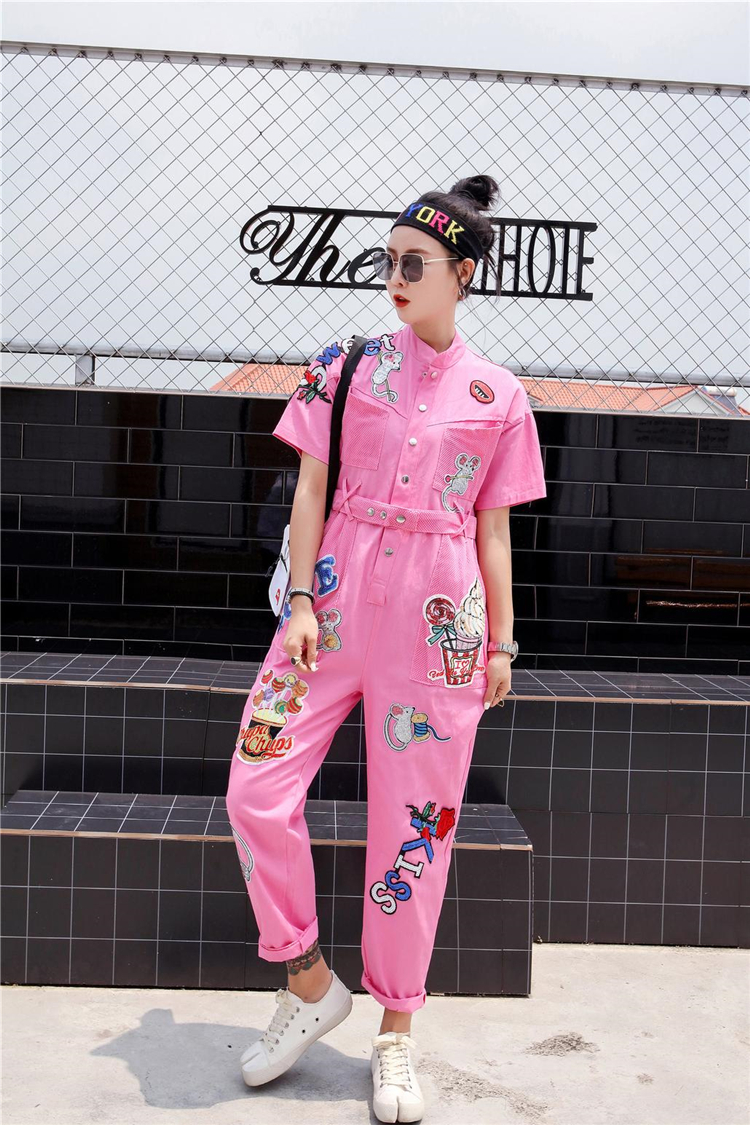 Women High Street Patch Design Short Sleeve Jumpsuit Hip Hop Design Mandarin Collar Overalls Casual Sequins