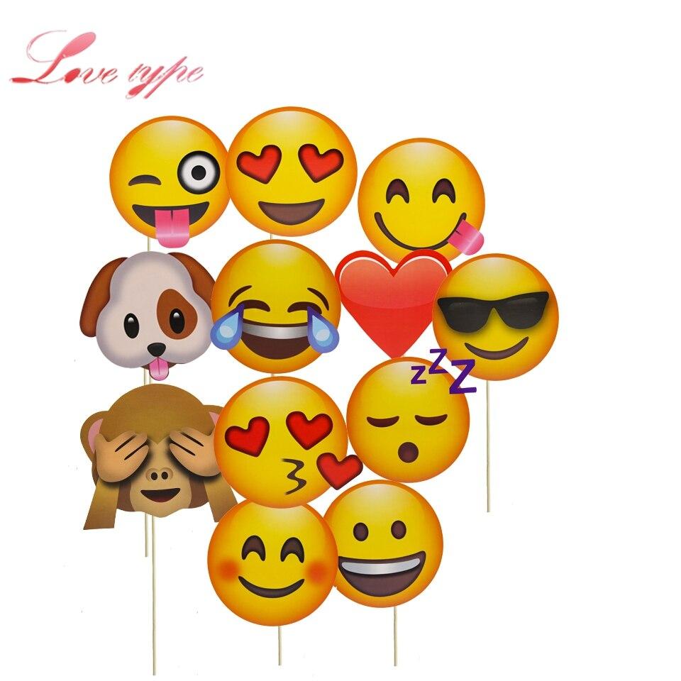 12pcs Set Diy Funny Emoji Paper Photo Booth Props Cartoon