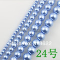 Free Shipping+ 4 6 8 10mm 12mm/14mm/16mm Lt. Blue Glass Imitation Pearls Loose Beads for Necklace/Bracelet  DIY Accessory