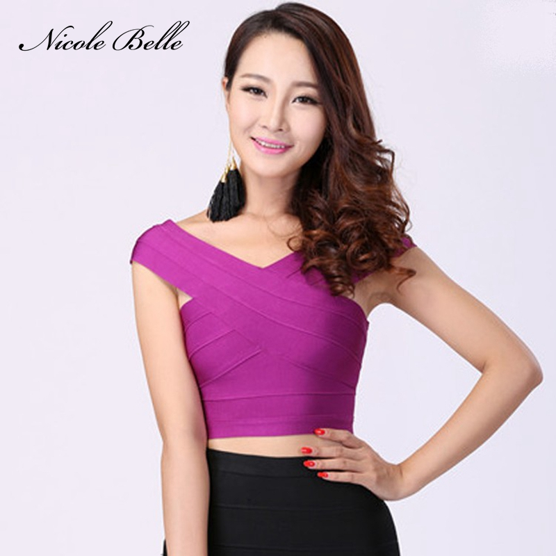 Tank-Top Bandage Women Bustier Top-Off-The-Shoulder Purple Fashion Red for Hip-Feminity