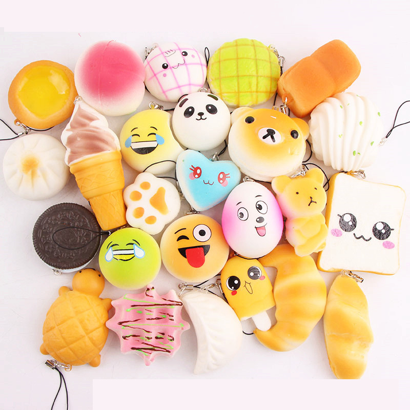 10 pcs/set Squishy Food Toys Squeeze Fun Slow Rising Soft Anti stress Relief Pendant Squishies Toy Bread