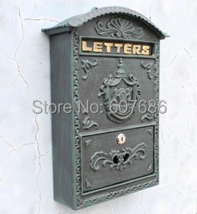 Cast Iron Mailbox Postbox Mail Box Dark Green Wall Mount Metal Post Letters Box Garden Yard Patio Lawn Outdoor Art Free Shipping ...