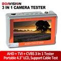 "Reloj portable 4.3 ""lcd hd ahd analogía cámara monitor de prueba cctv tester probador tvi cvbs, 5 v/12 v potencia de salida, prueba de cable"