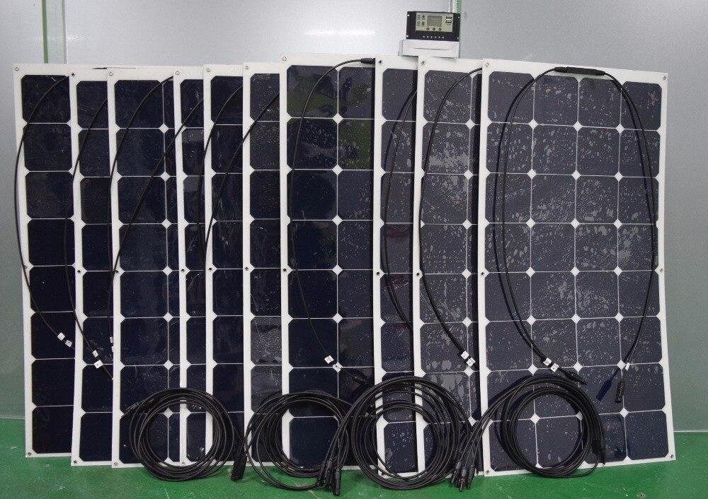 Solarparts kit 10PCS 100W flexible solar panel, 1pcs 20A USB controller,3 sets male/female MC4 connector solar module solar cell