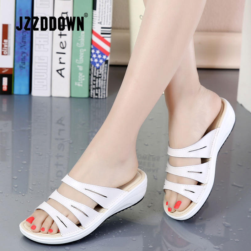 Genuine Leather Women's Beach Slippers Sandals Flip Flops Shoes Ladies Summer Wedges Casual Female Platform Sandals Shoes waikol new women summer heavy bottomed sandals ladies beach slippers wedges shoes platform candy color casual shoes wholesale