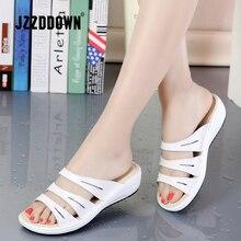 Prawdziwej skóry kobiet kapcie plażowe sandały klapki japonki buty damskie letnie kliny damskie na co dzień sandały na platformie buty