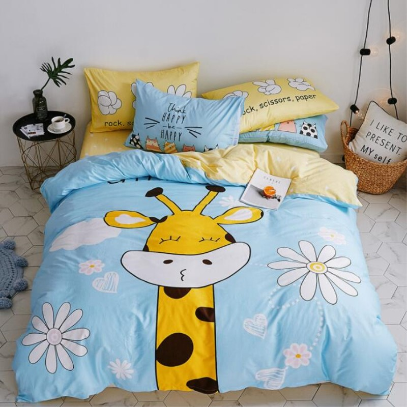 Baby Boys Girls Cute Animal Bedding Set Kids 100 Cotton Duvet Cover Sheet Pillowcase Children Cartoon