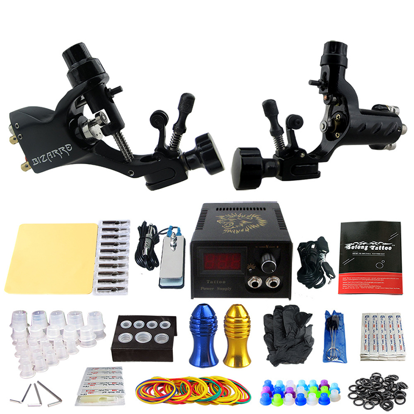 Tattoo Kits 2 Pcs Pro Rotary Machine Guns Power Supply Foot Pedal Needle Grips Tips Practice Skin Accessory Tattoo Machine set agriculture machine accessory china cnc machine accessory
