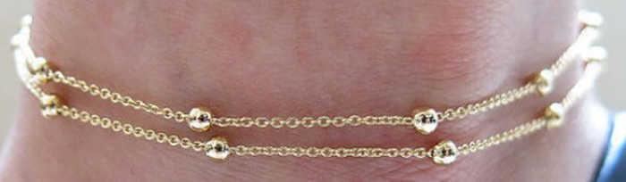 ทองเงินเก๋กระชับ Double Layer เจ้าสาวแต่งงาน Anklets Chain Charm ลูกปัดขาสร้อยข้อมือเครื่องประดับสำหรับผู้หญิง