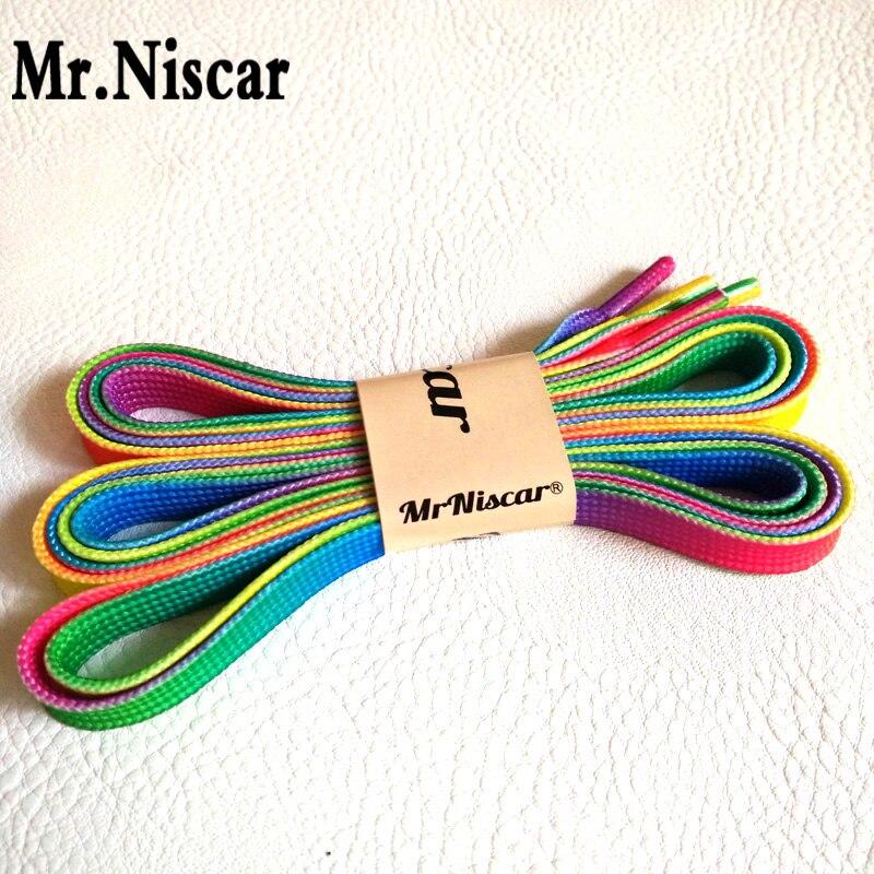 Mr.Niscar 2 Pair Length 80-150 cm Width 1 cm Polyester Rainbow Flat Shoelaces Fashion Casual Shoe Laces Gradient Shoe Strings