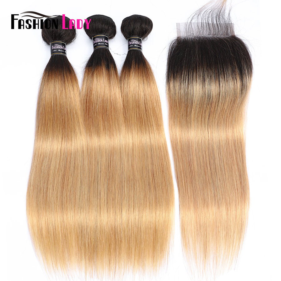 Fashion Lady Ombre Blonde Brazilian Hair 3 Bundles With Closure Pre Colored 1B 27 Straight Weave