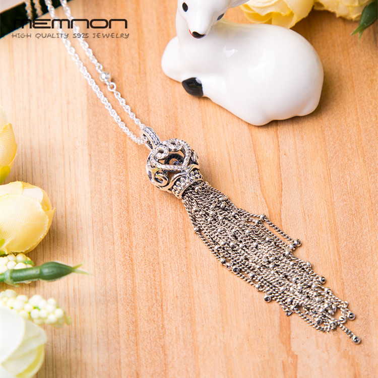2018 Spring Enchanted Tassel Necklaces for women 925 sterling silver link chain silver pendants necklace fine