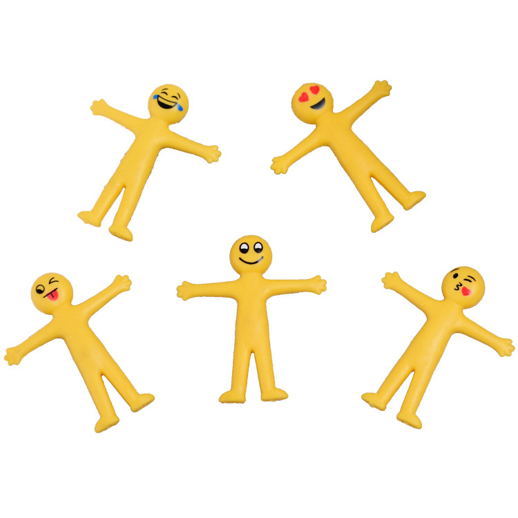 1PC Smiling Face Stretchable Stretch Creative Decompression Toys Folding Soft Rubber Vent Doll Decorative Ornaments  Gift Toys