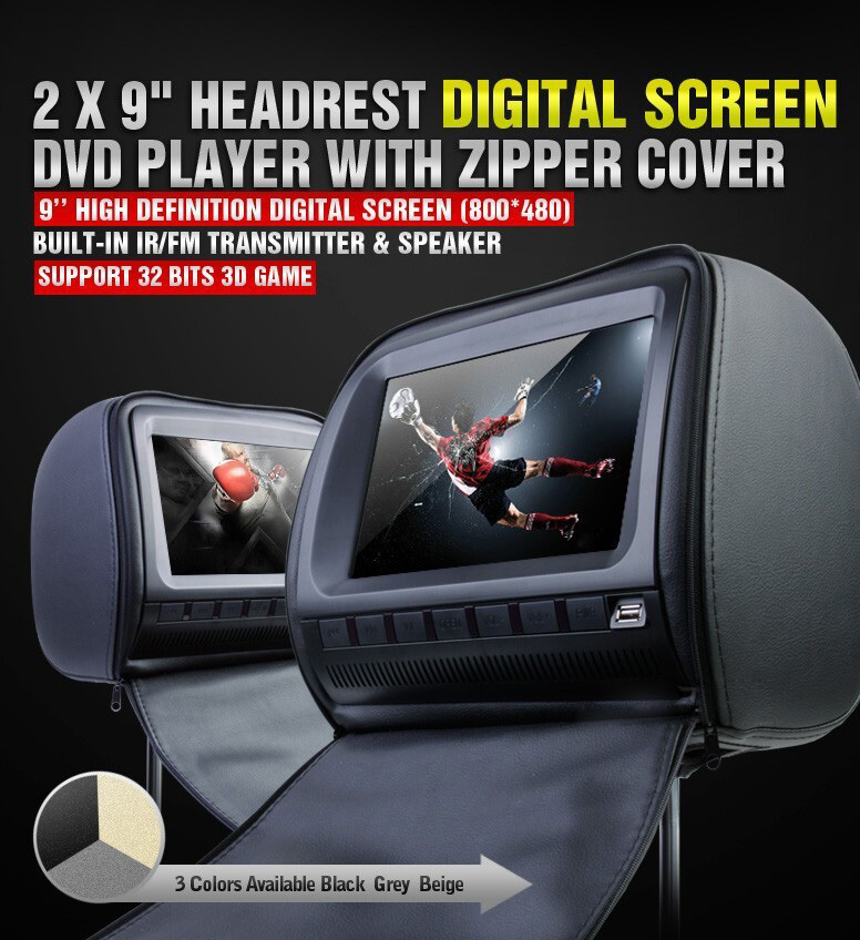 one pair 2X9 inch car headrest DVD player with zipper cover,USB/SD,32bit Game,IR,FM,TV(o ...