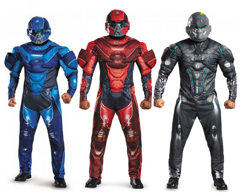 Free shipping halloween party cosplay adult men HALO 5 guardian game muscle costume clothes with mask