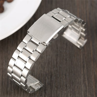 Black Silver 22mm Watchbands Replacement For Wristwatch Clock Band Adjustable Stainless Steel Wrist Strap Metal Luxury
