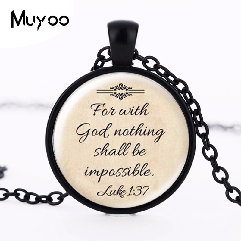 Newest Fashion Jesus Jewelry Christian Necklace Faith With God Nothing is Impossible Quote Jewelry Glass Saying